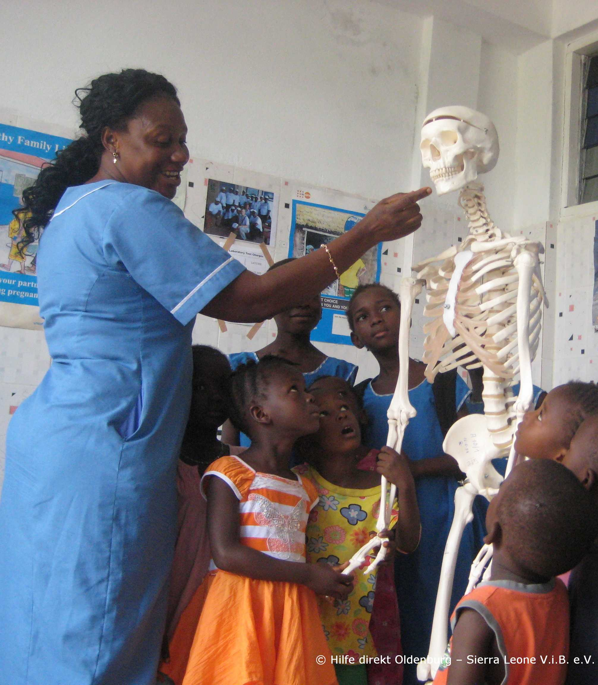 Children with 3B Scientific Skeleton Model