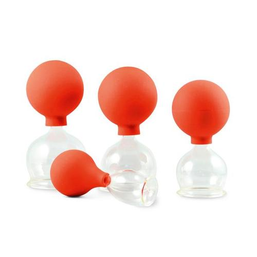 Massage glass cupping set w. suction bulb, 40-60 mm,set of 3 pcs., 1017757, Cupping Glasses