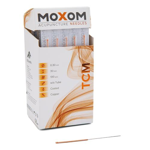 Acupuncture needles MOXOM TCM 100 pcs. (silicone coated) 0,30 x 30 mm, 1022097, Acupuncture Needles MOXOM