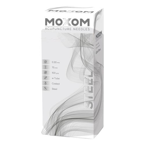 MOXOM Steel  - 0.30 x 75 mm - Tube & Coated - 100 needles, 1022113, Acupuncture Needles MOXOM