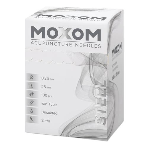 MOXOM Steel  - 0.25 x 25 mm - Uncoated - 100 needles, 1022121, Acupuncture Needles MOXOM
