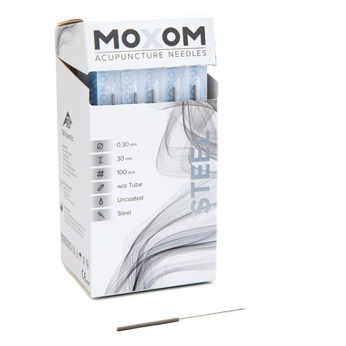 MOXOM Steel  - 0.30 x 30 mm - Uncoated - 100 needles, 1022122, Acupuncture Needles MOXOM