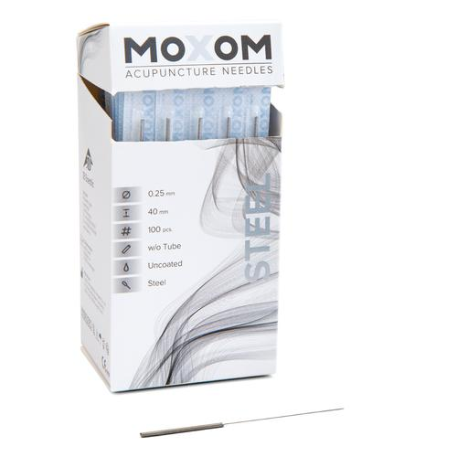 MOXOM Steel  - 0.25 x 40 mm - Uncoated - 100 needles, 1022123, Acupuncture Needles MOXOM