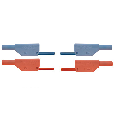 Pair of Safety Experiment Leads, 75 cm, blue, red, 1017718 [U13816], Experiment Leads and Cables